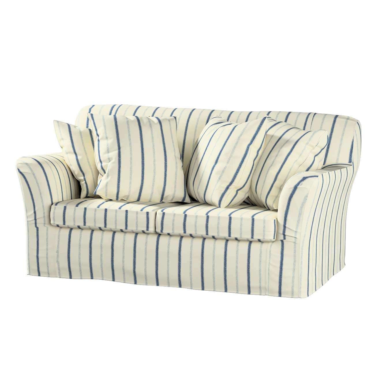 Tomelilla 2 seater sofa cover, blue stripes, ivory background, 129 66, Tomelilla 2 seat sofa