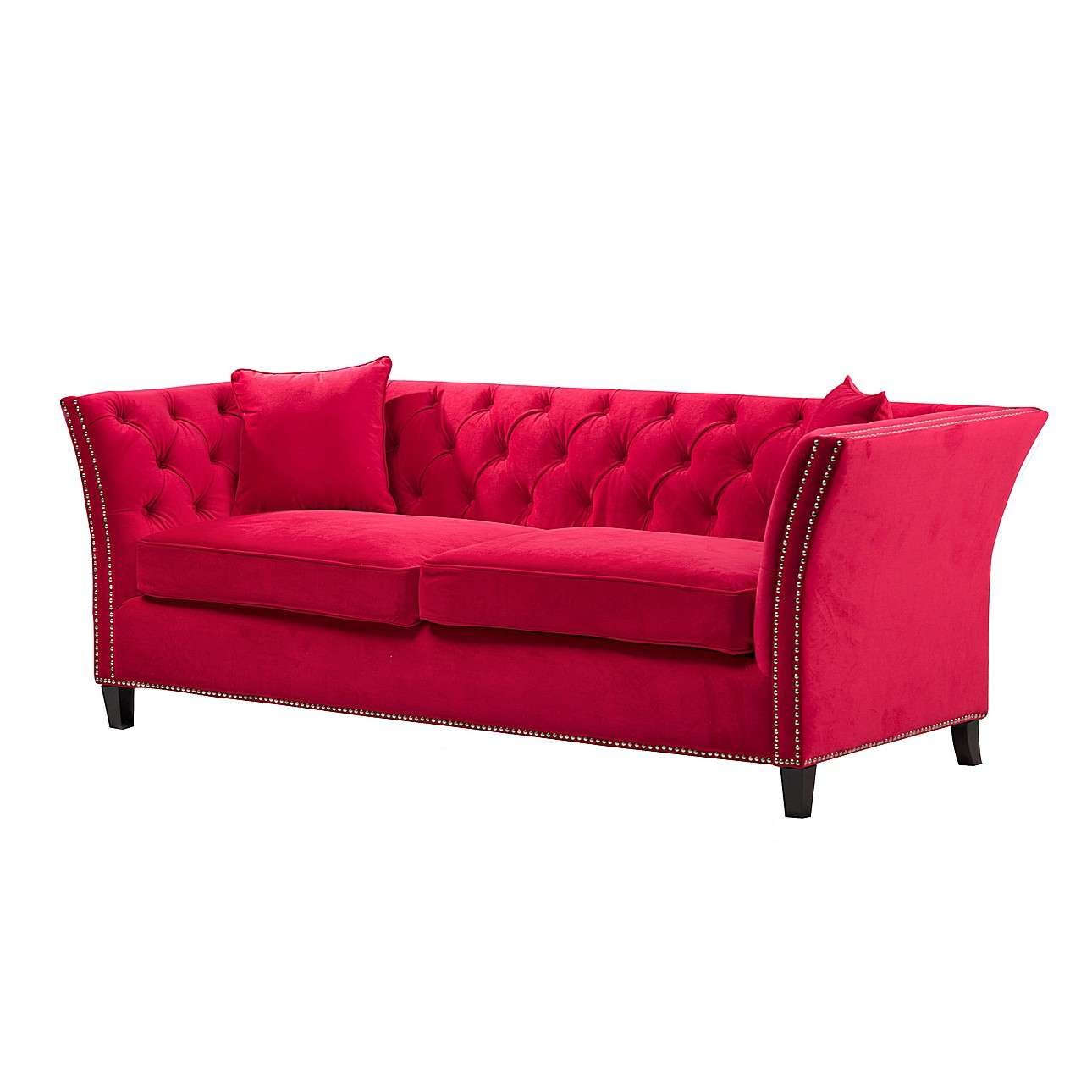 Sofa chesterfield modern velvet raspberry red 3 os for Chesterfield modern einrichten
