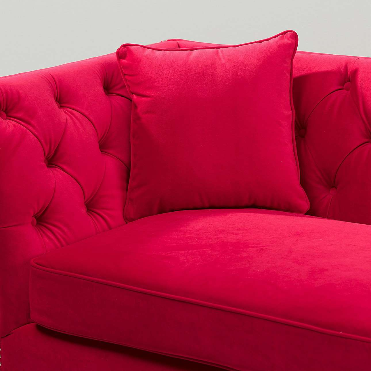Sofa Chesterfield Modern Velvet Raspberry Red 3-os.