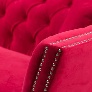 Sofa Chesterfield Modern Raspberry Red 3-Sitzer
