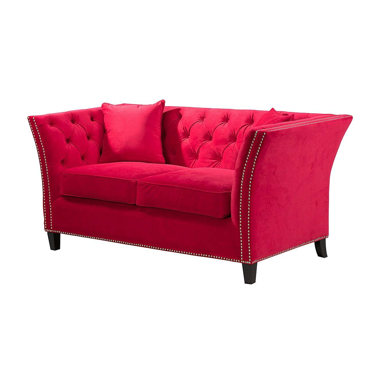 Sofa Chesterfield Modern Velvet Raspberry Red 2-Sitzer, 172x87x82cm