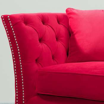 Sofa Chesterfield Modern Velvet Raspberry Red 2-os.