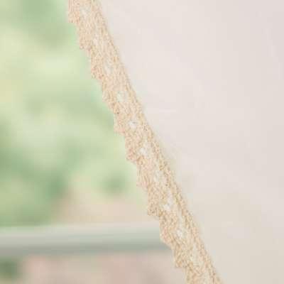 Gordijn Lily 2 st. van voile wit met katoen kant 900-01 ecru Collectie Voile