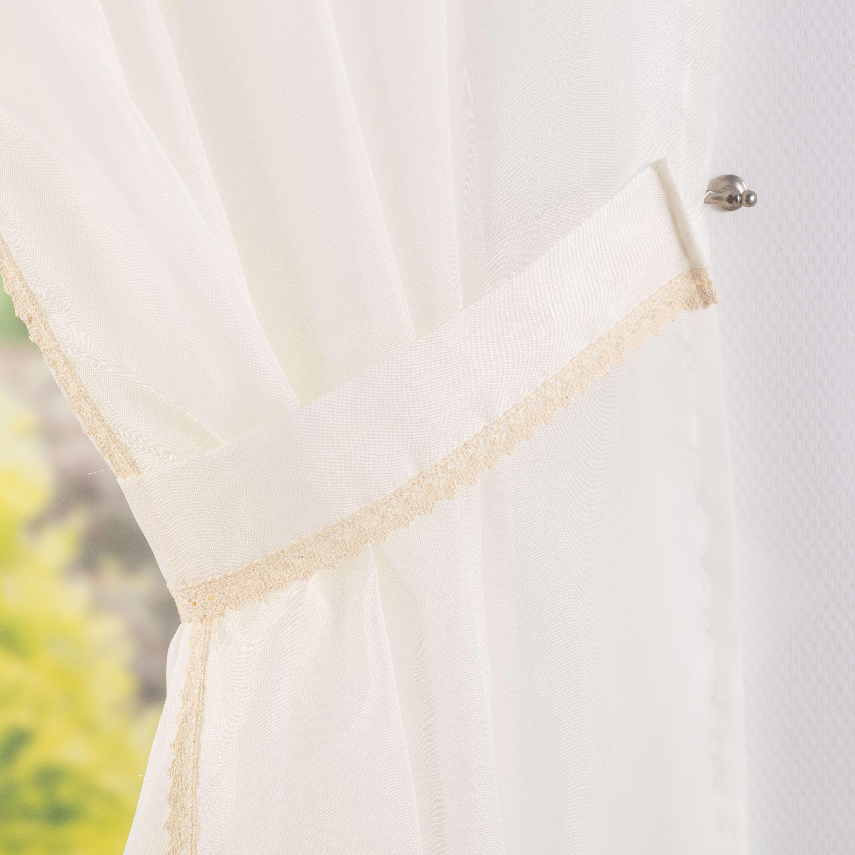 Záclony Lily 2 ks s krajkou, dlouhé  200x250 cm v kolekci Voile - Voál, látka: 900-01