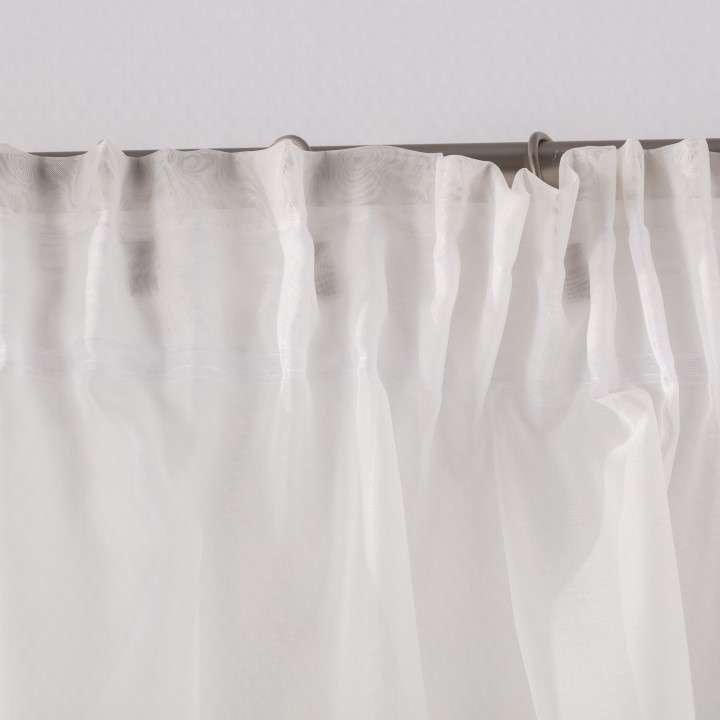 Krátky záves oblúk Lily, biely voál s výšivkou V kolekcii Voálové záclony, tkanina: 900-01