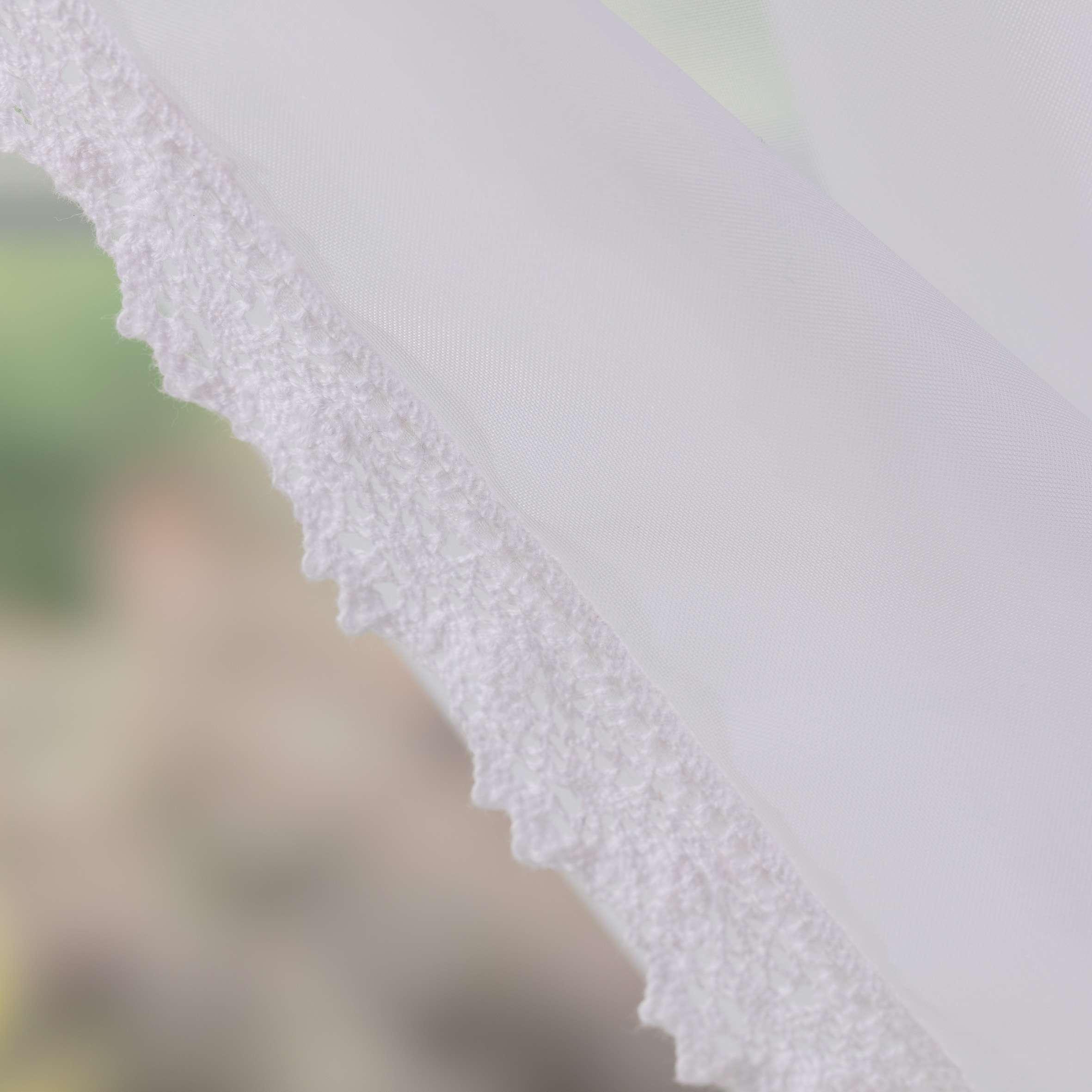 Záclony Lily 2 ks s krajkou, krátké  140x150 cm v kolekci Voile - Voál, látka: 900-00