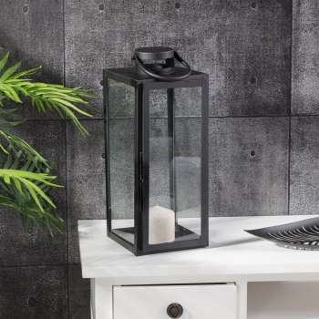 Lampion metalowy Elegance black wys.54cm