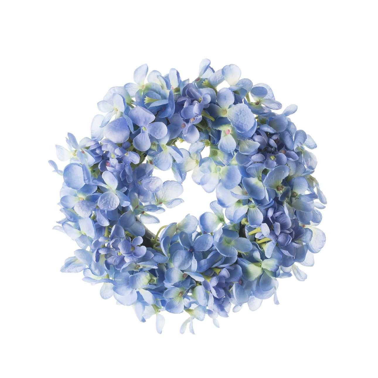 Blue Artificial Flower Wreath Dia 26 cm