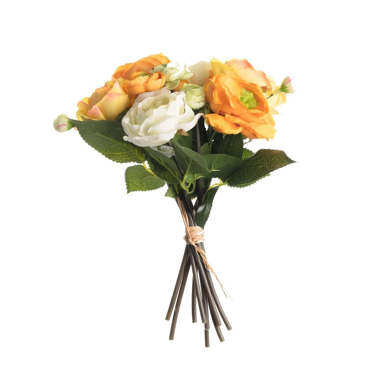 Artificial Orange/White Roses Bouquet H 29 cm