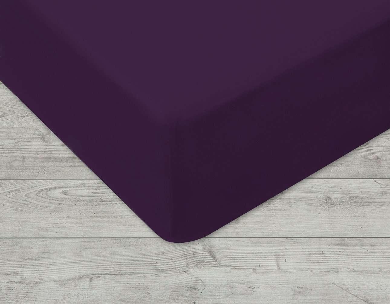 Prześcieradło jersey z gumką fioletowe 90 × 200 cm