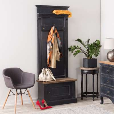 Předsíňová stěna Bradford 79x41x210 old black & natural Věšáky, předsíňový nábytek a doplňky - Dekoria-home.cz