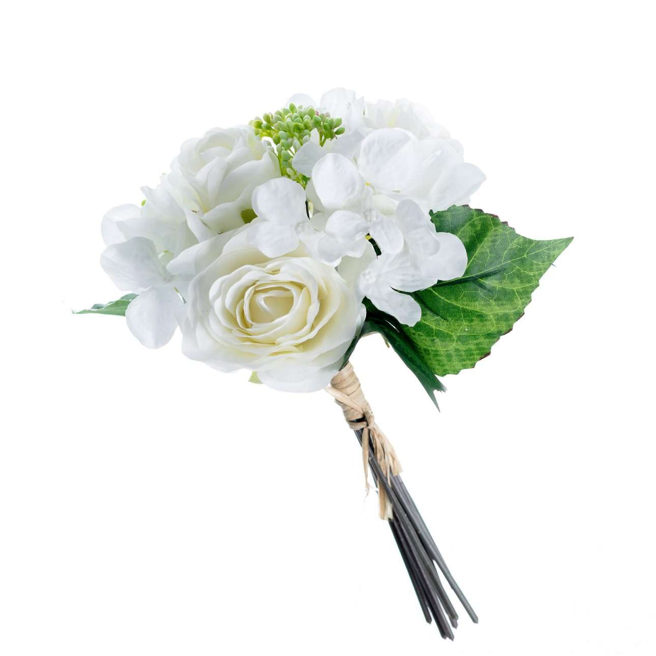 Artificial White Hydrangea and Roses Bouquet H 32 cm