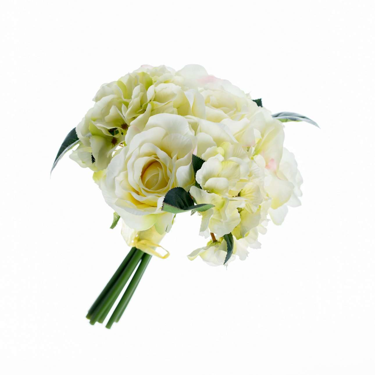 Artificial Yellow Hydrangea and Roses Bouquet H 32 cm