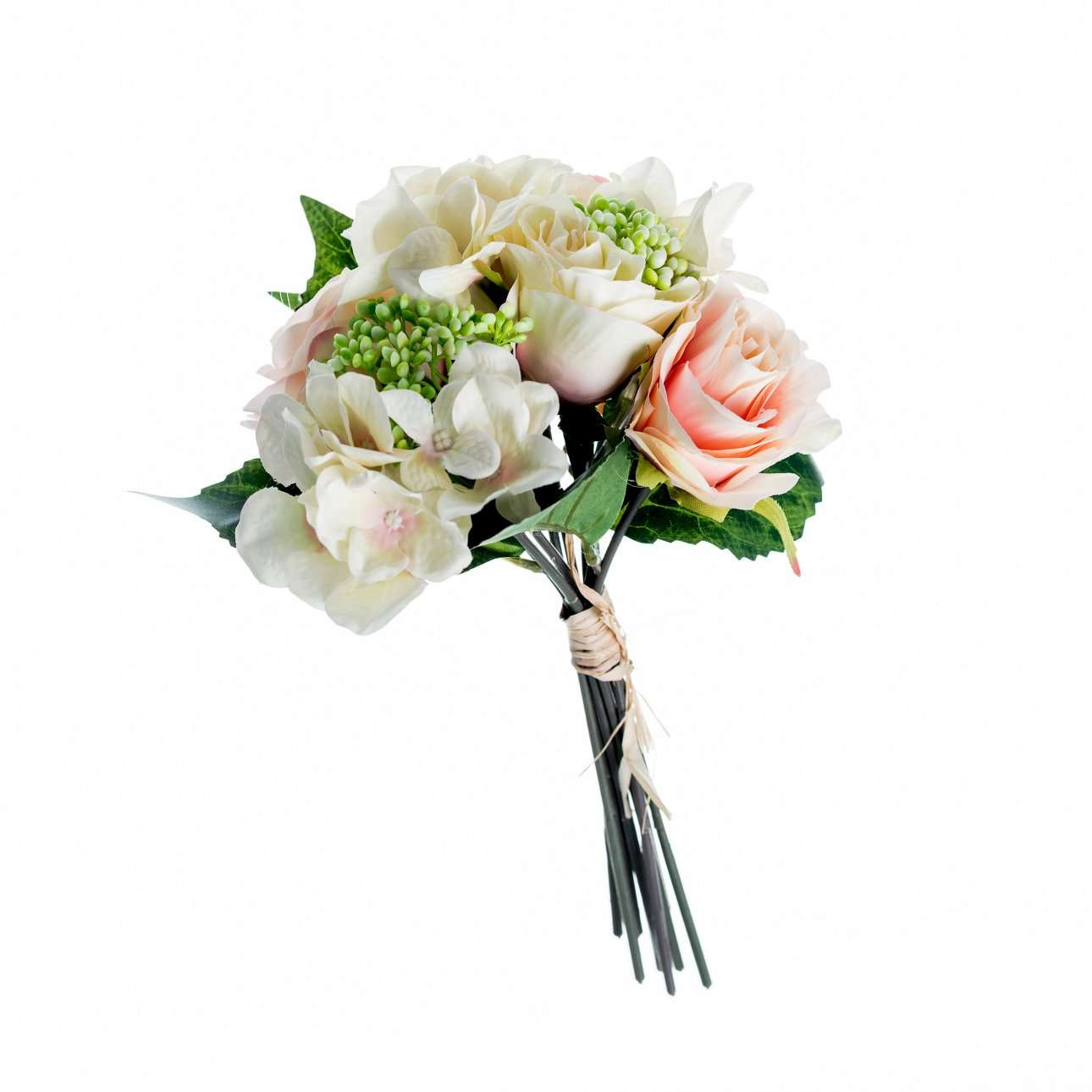 Artificial Pink and White Hydrangea and Roses Bouquet H 32 cm