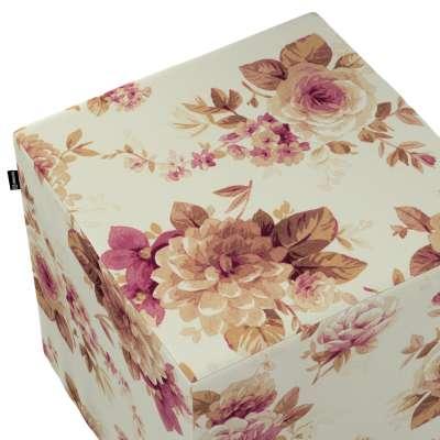 Taburetka tvrdá, kocka 141-06 bordovo-béžové ruže na krémovom podklade Kolekcia Londres