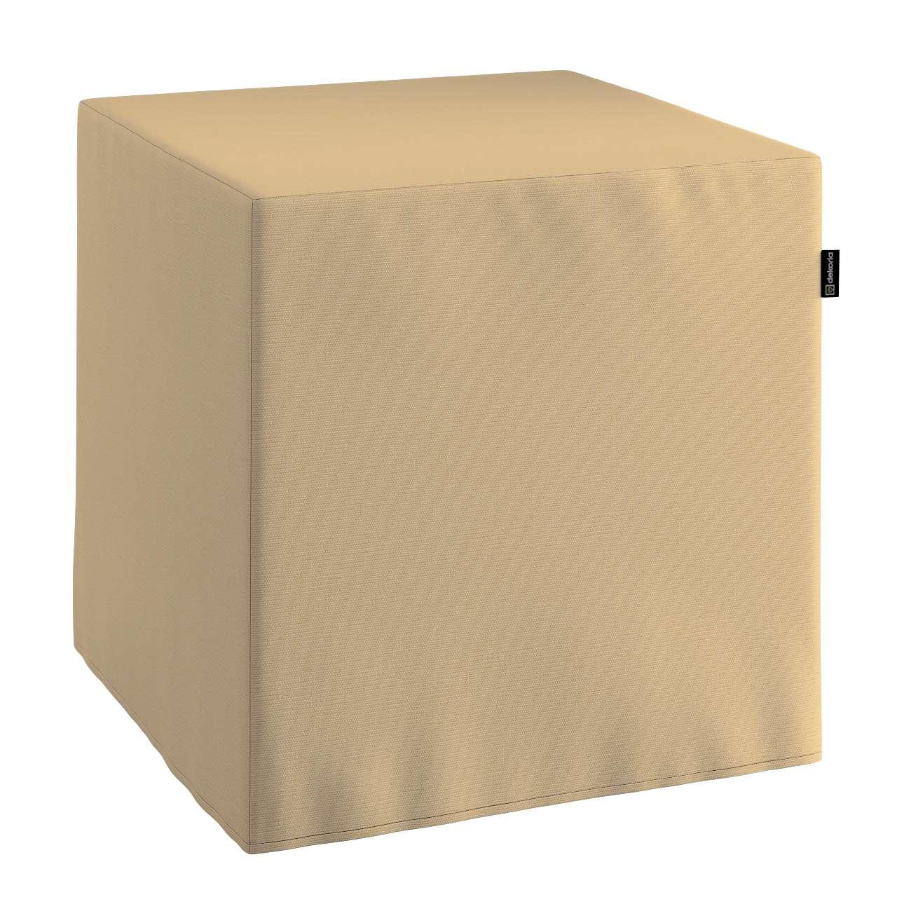 Pufa kostka twarda 40x40x40 cm w kolekcji Cotton Panama, tkanina: 702-01
