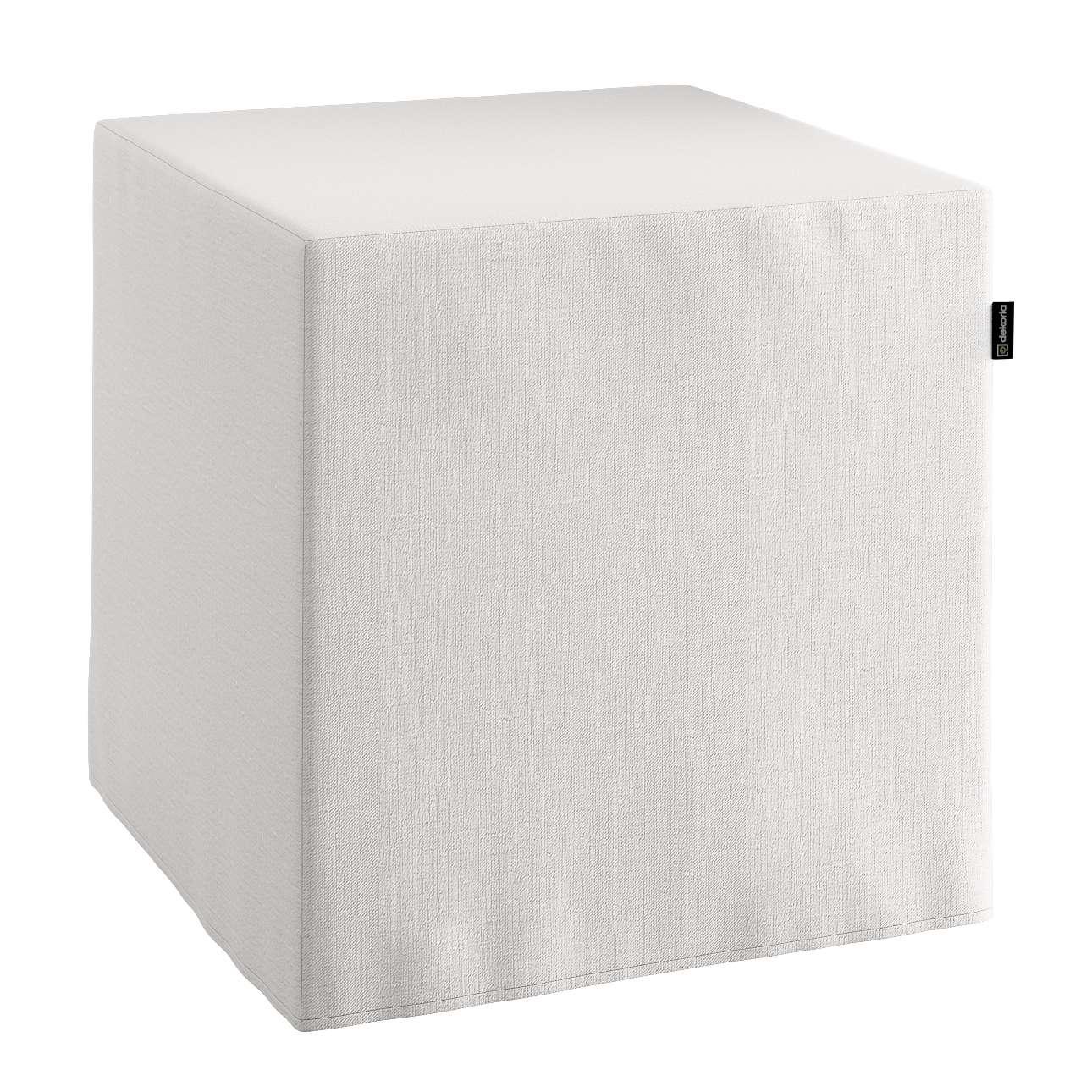 Pufa kostka twarda 40x40x40 cm w kolekcji Linen, tkanina: 392-04