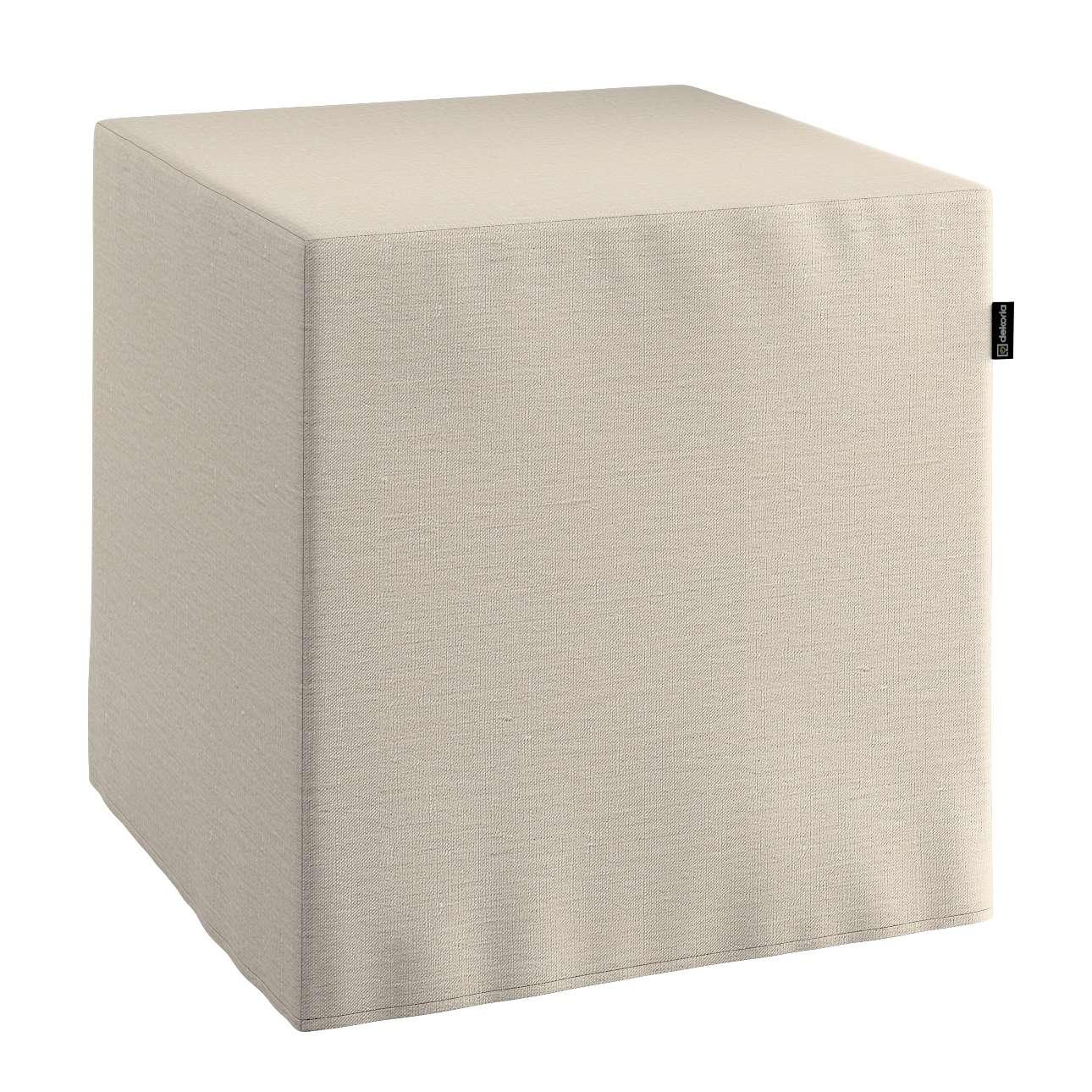 Pufa kostka twarda 40x40x40 cm w kolekcji Linen, tkanina: 392-05