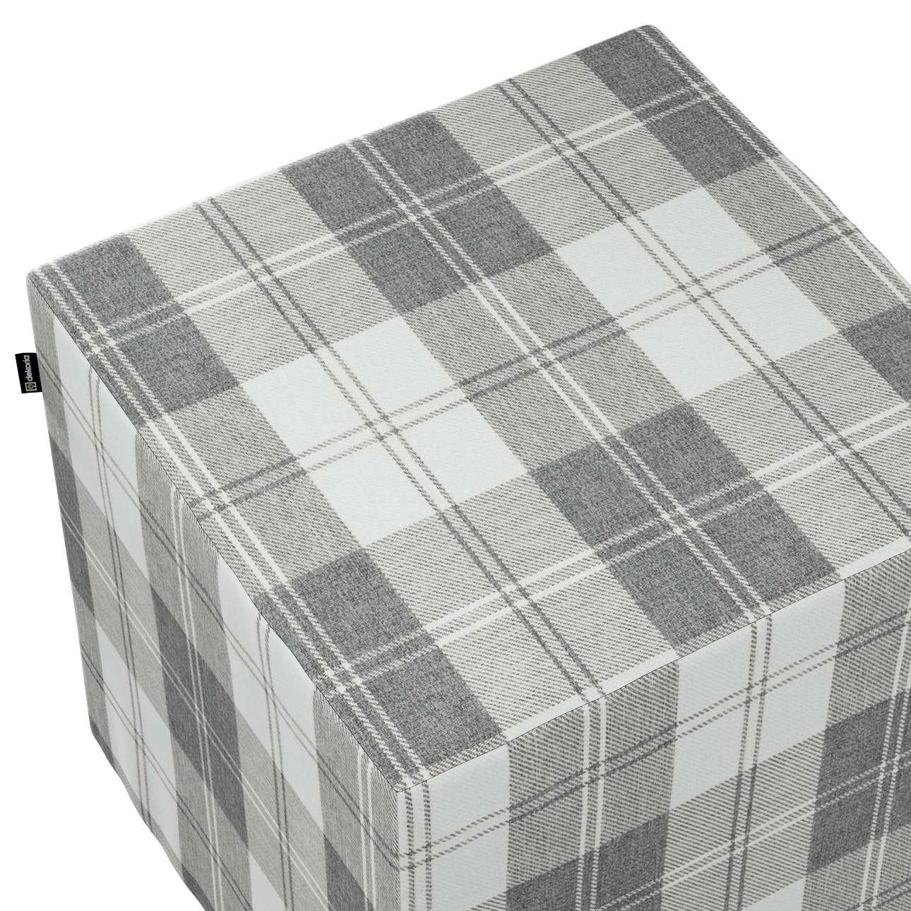 Taburetka tvrdá, kocka V kolekcii Edinburg, tkanina: 115-79
