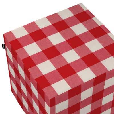 Taburetka tvrdá, kocka 136-18 červeno-biele veľké káro Kolekcia Quadro