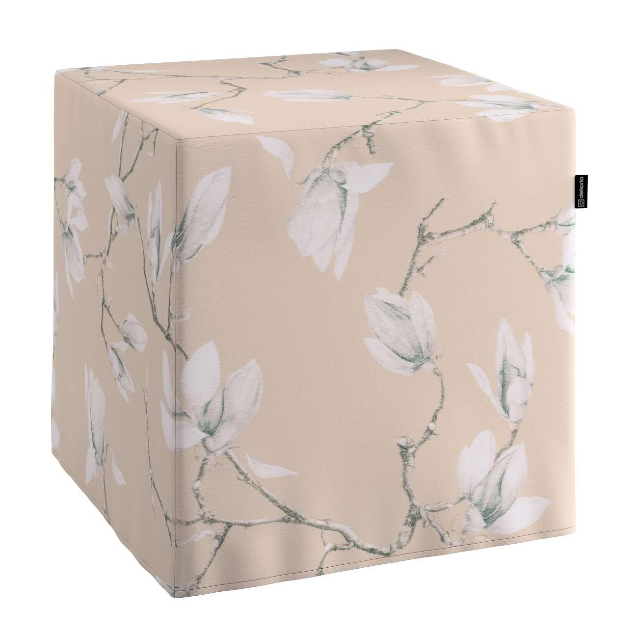 Pufa kostka twarda 40x40x40 cm w kolekcji Flowers, tkanina: 311-12