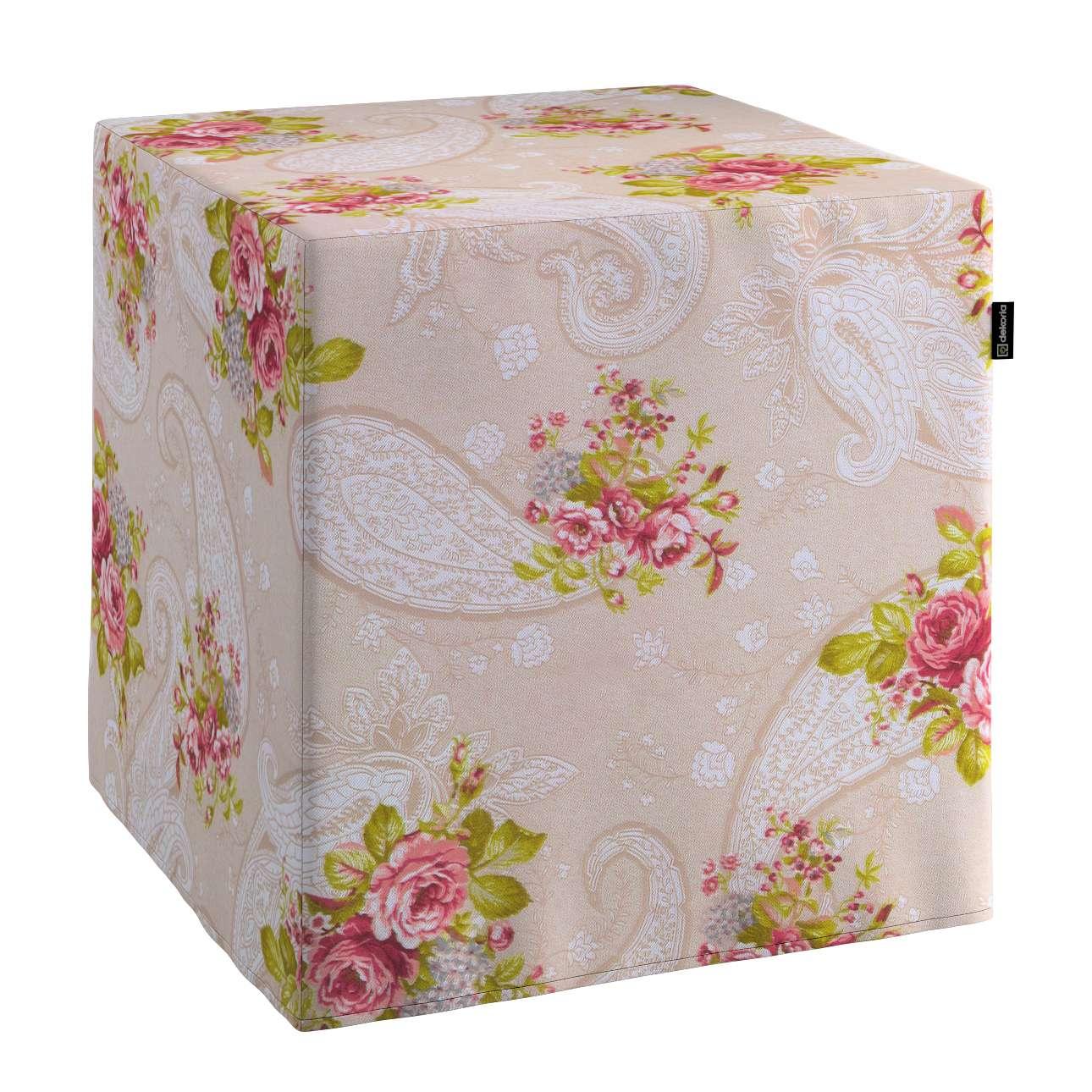 Pufa kostka twarda 40x40x40 cm w kolekcji Flowers, tkanina: 311-15