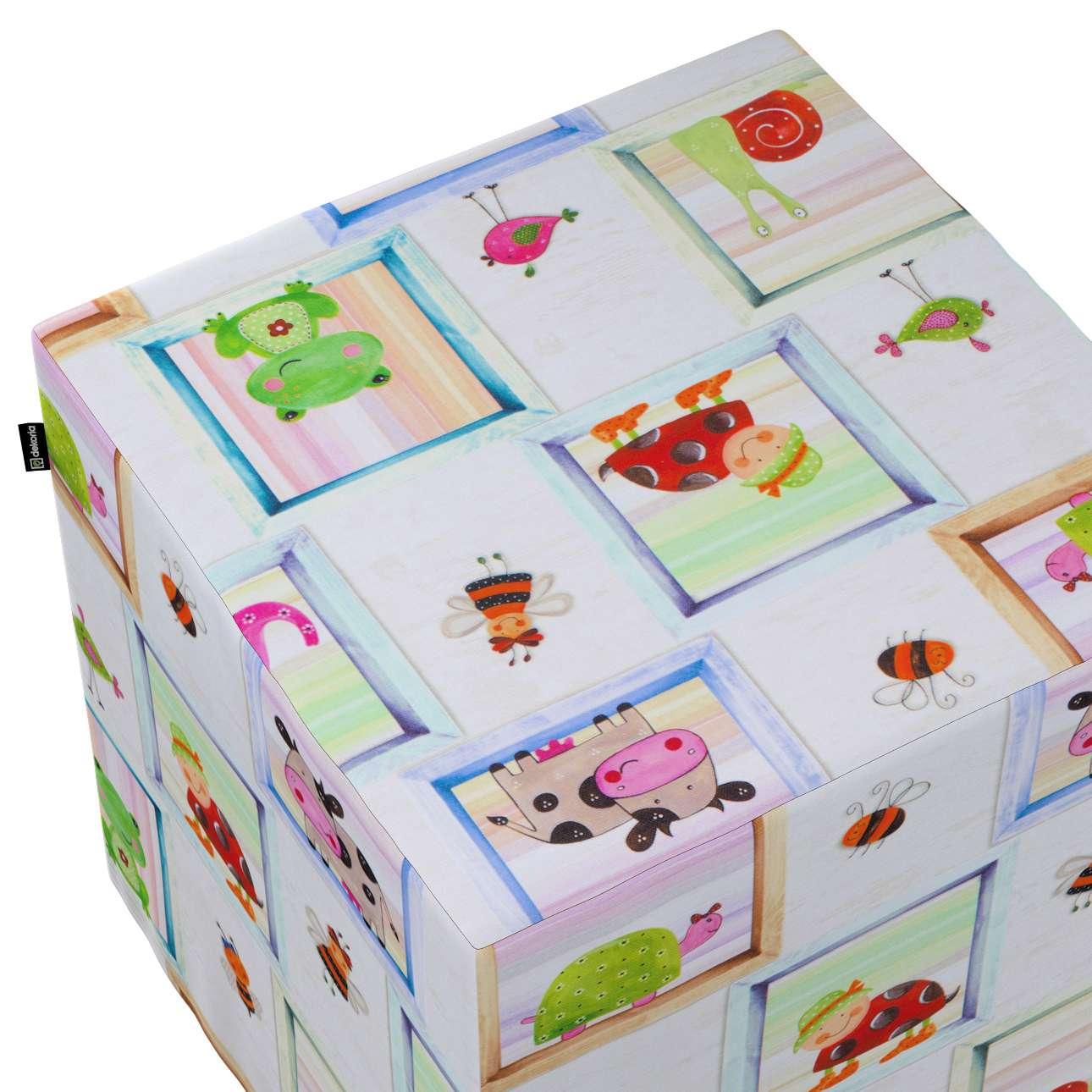 Taburetka tvrdá, kocka V kolekcii Little World, tkanina: 151-04