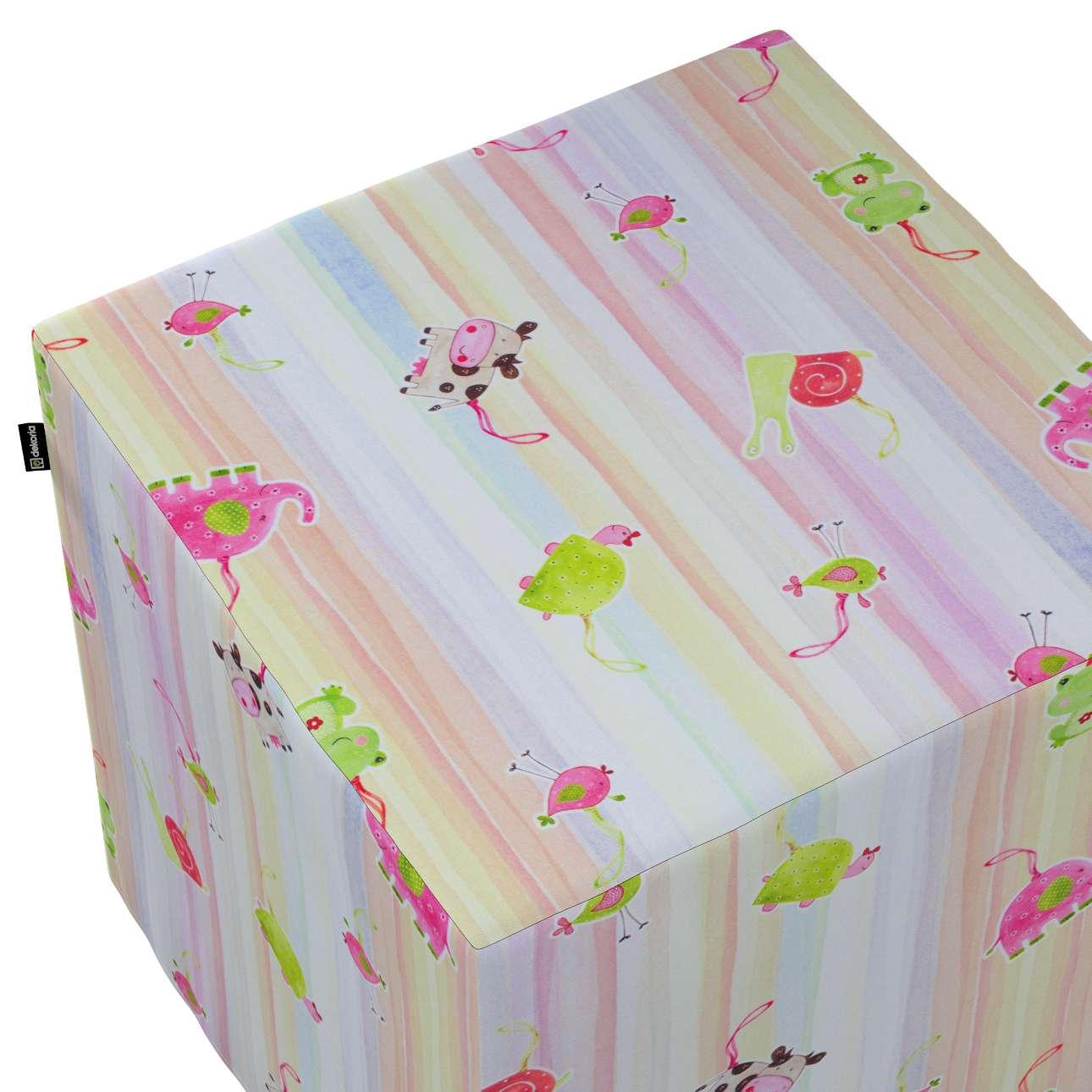 Taburetka tvrdá, kocka V kolekcii Little World, tkanina: 151-05