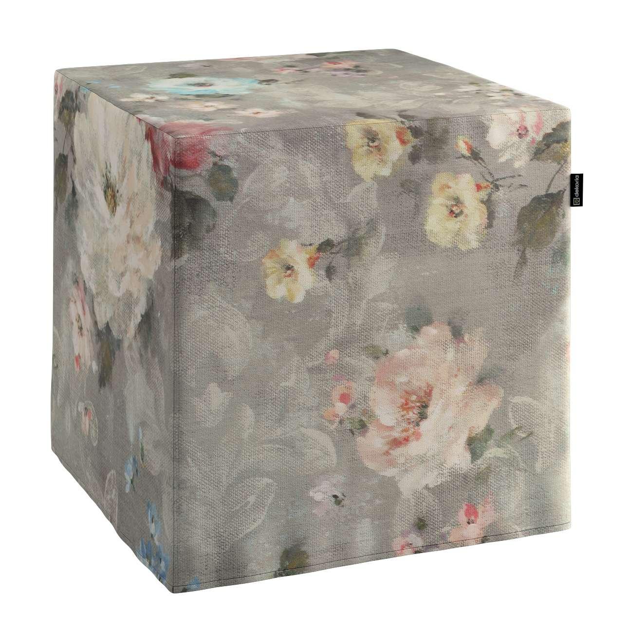 Sedák Cube - kostka pevná 40x40x40 v kolekci Monet, látka: 137-81