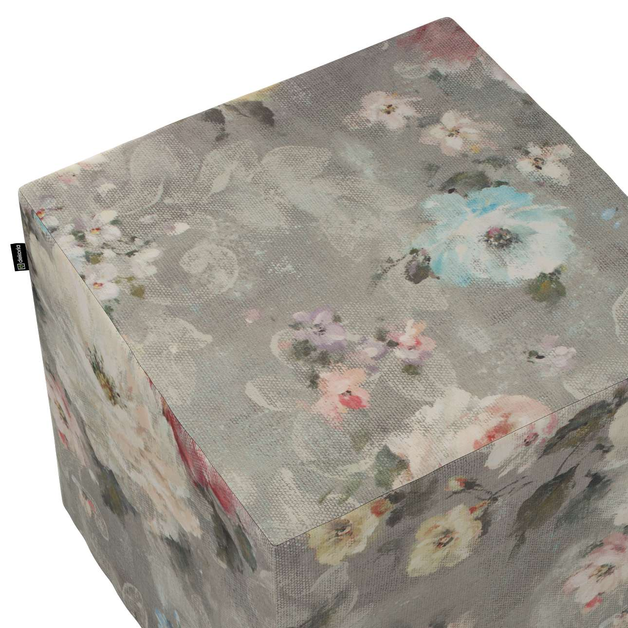 Taburetka tvrdá, kocka V kolekcii Flowers, tkanina: 137-81