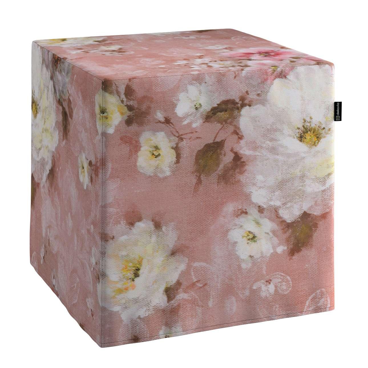 Sedák kostka - pevná 40 x 40 x 40 cm v kolekci Monet, látka: 137-83