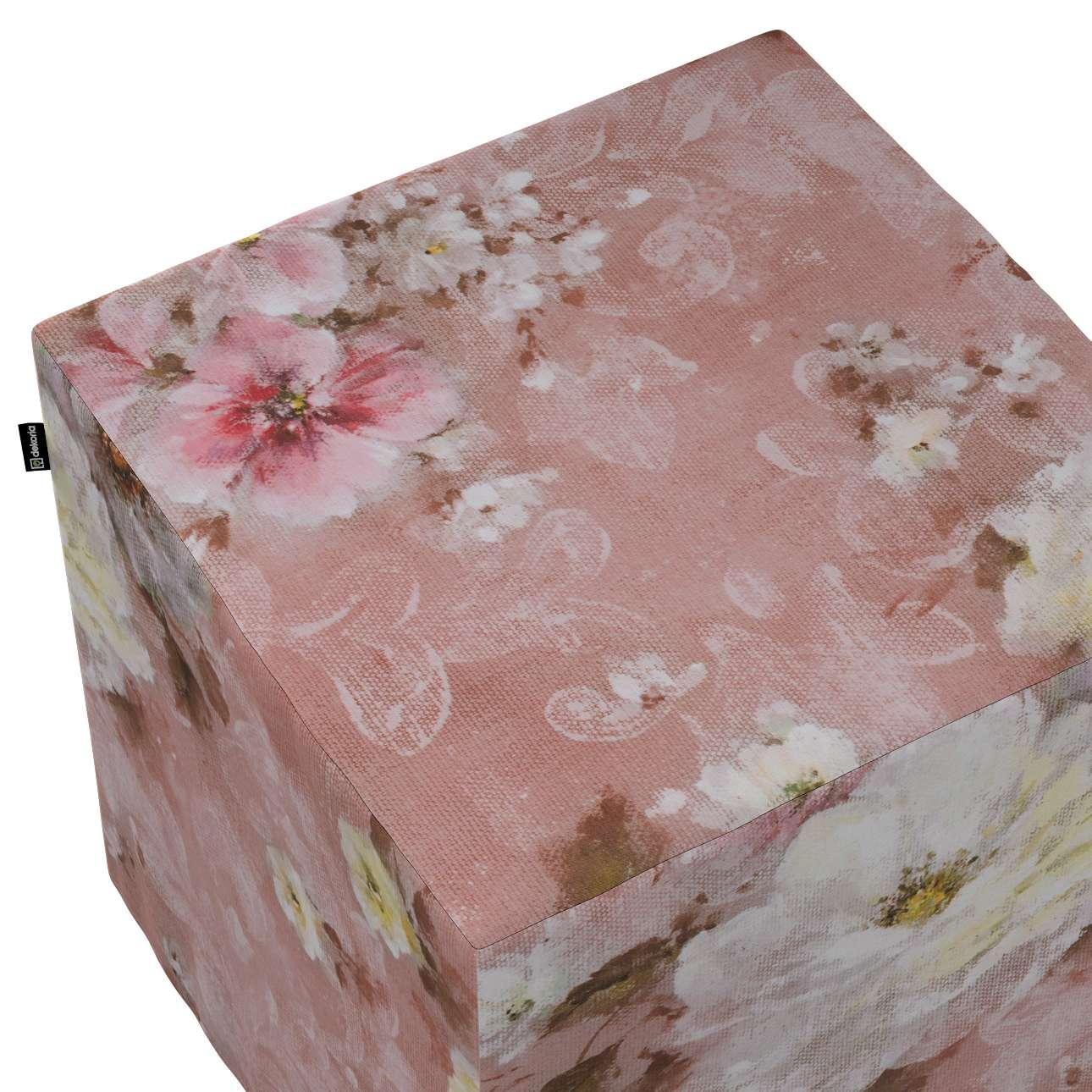 Siddepuf og fodskammel fra kollektionen Monet, Stof: 137-83