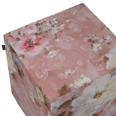 Taburetka tvrdá, kocka 137-83 krémove a ružové kvety na tmavo ružovom podklade Kolekcia Flowers