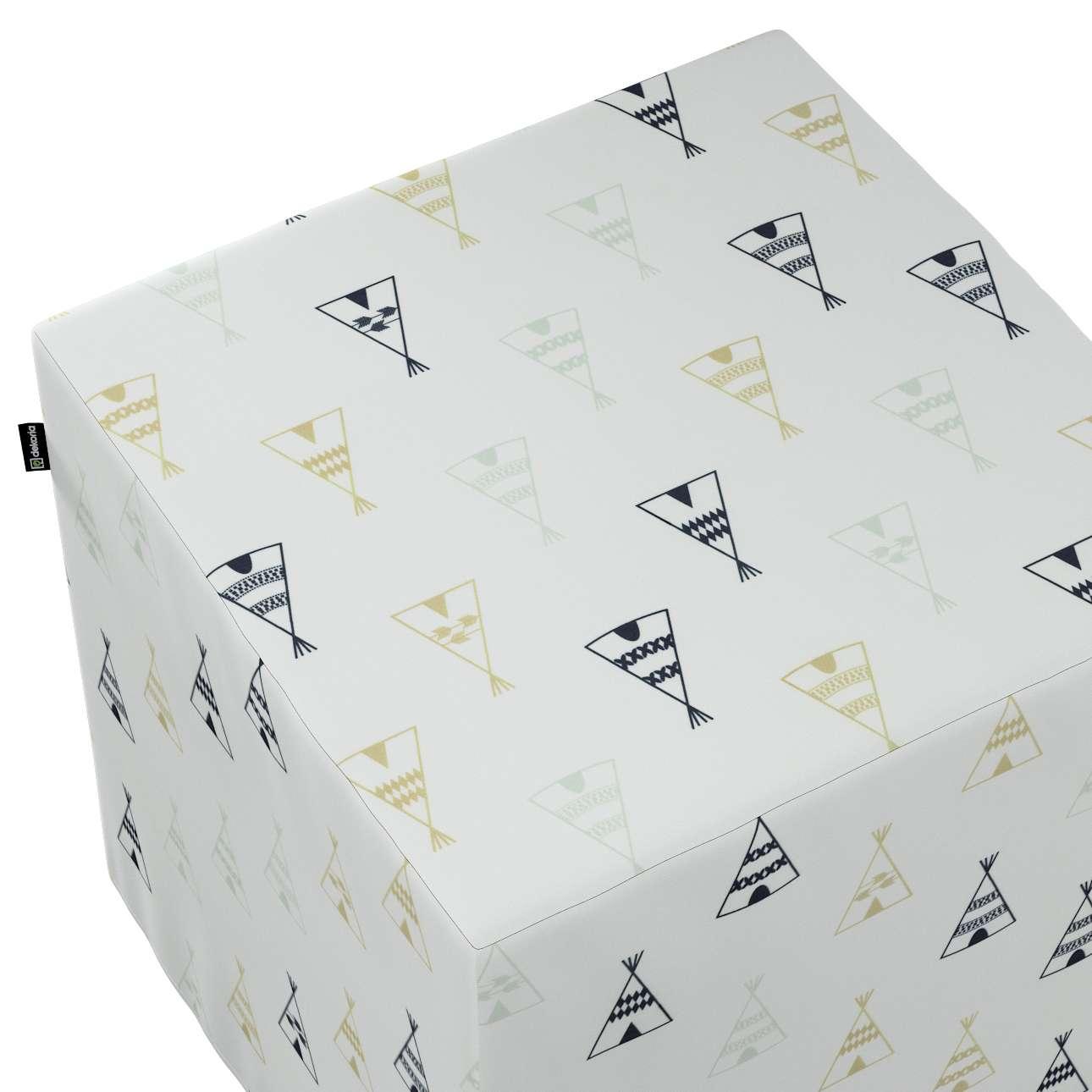 Taburetka tvrdá, kocka V kolekcii Adventure, tkanina: 141-84