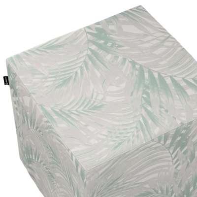 Taburetka tvrdá, kocka 142-15 mätovo sivé listy palmy na bielom pozadí Kolekcia Gardenia