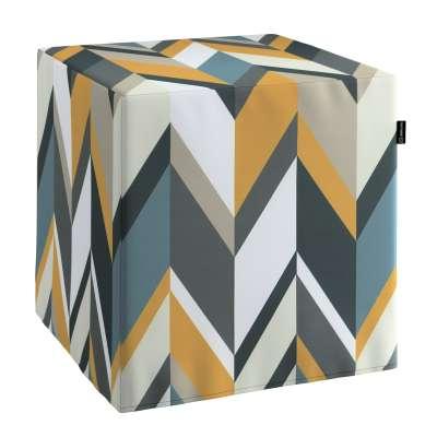 Pufa kostka 143-56 geometryczne wzory w żółto-niebiesko-bezowej kolorystyce Kolekcja Vintage 70's