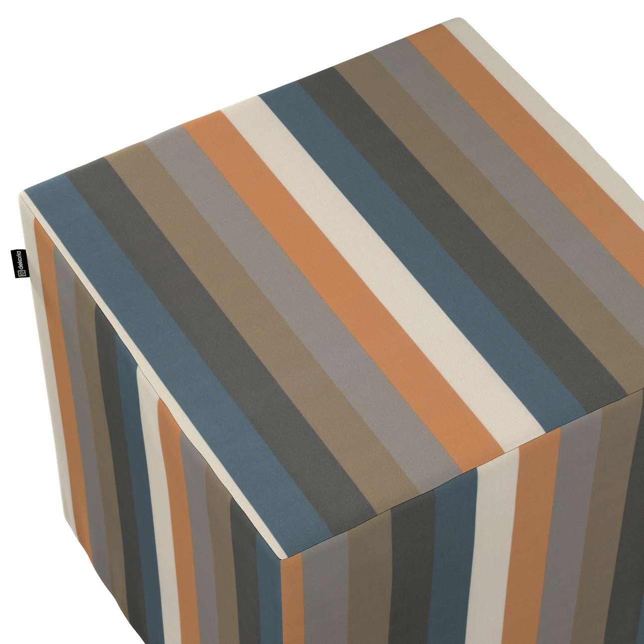 Taburetka tvrdá, kocka V kolekcii Vintage 70's, tkanina: 143-58