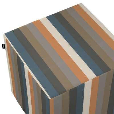 Pufa kostka 143-58 kolorowe pasy w rudo-brązowo-niebieskiej kolorystyce Kolekcja Vintage 70's