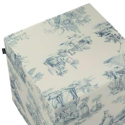 Sittepuff og Fotskammel 132-66 Blå print, creme bakgrunn Kolleksjon Avinon