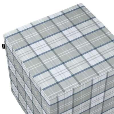 Pouf seat cube 143-65 niebiesko szara blue-gray check on a white background Collection Bristol