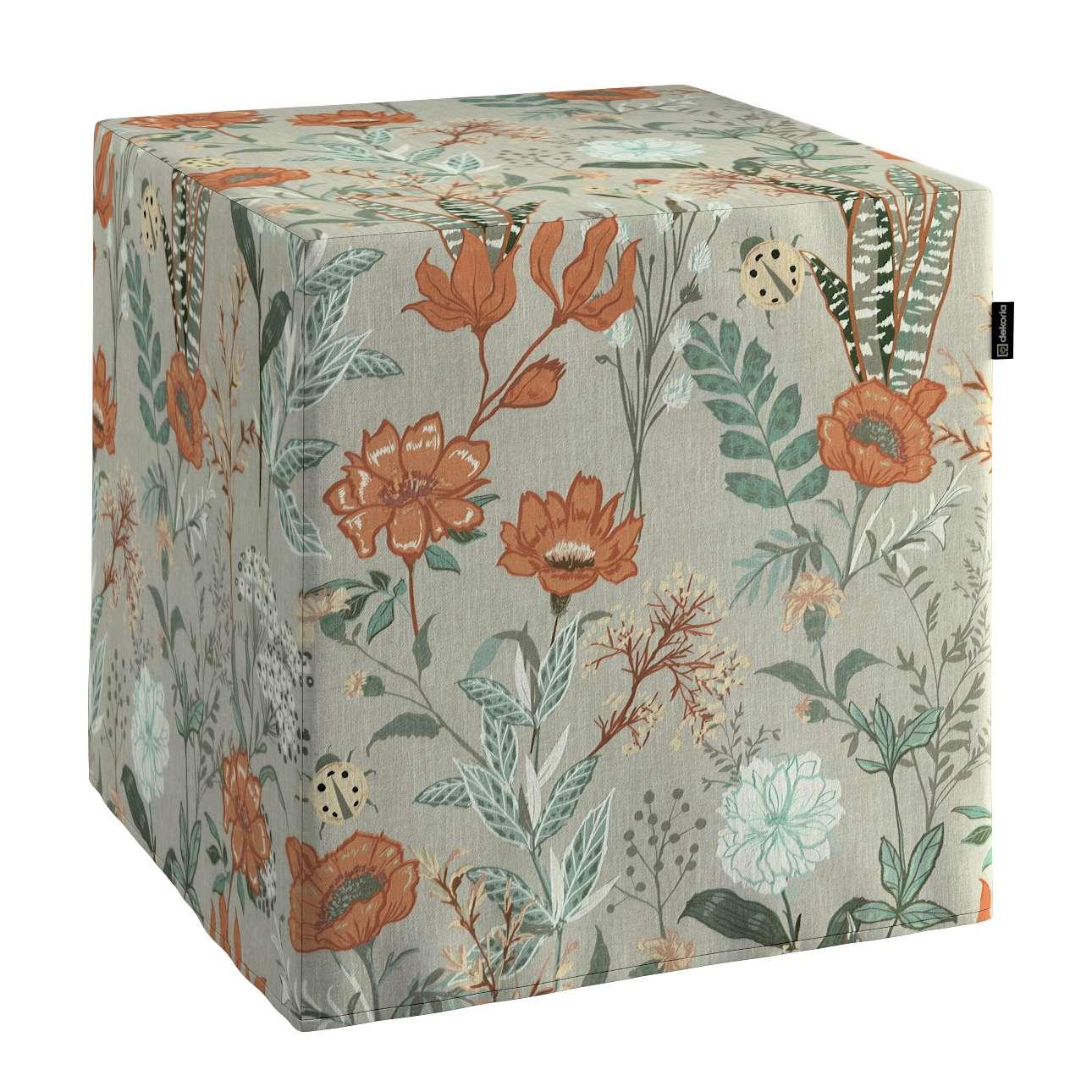 Pufa kostka w kolekcji Flowers, tkanina: 143-70