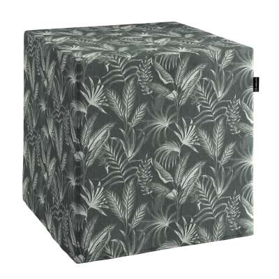 Pouf seat cube 143-73 leaves on a black background Collection Flowers