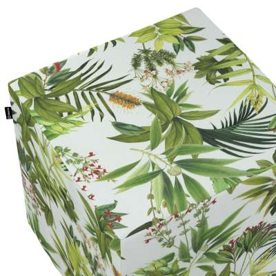 Pouf seat cube 143-69 green-red on a white background Collection Tropical Island
