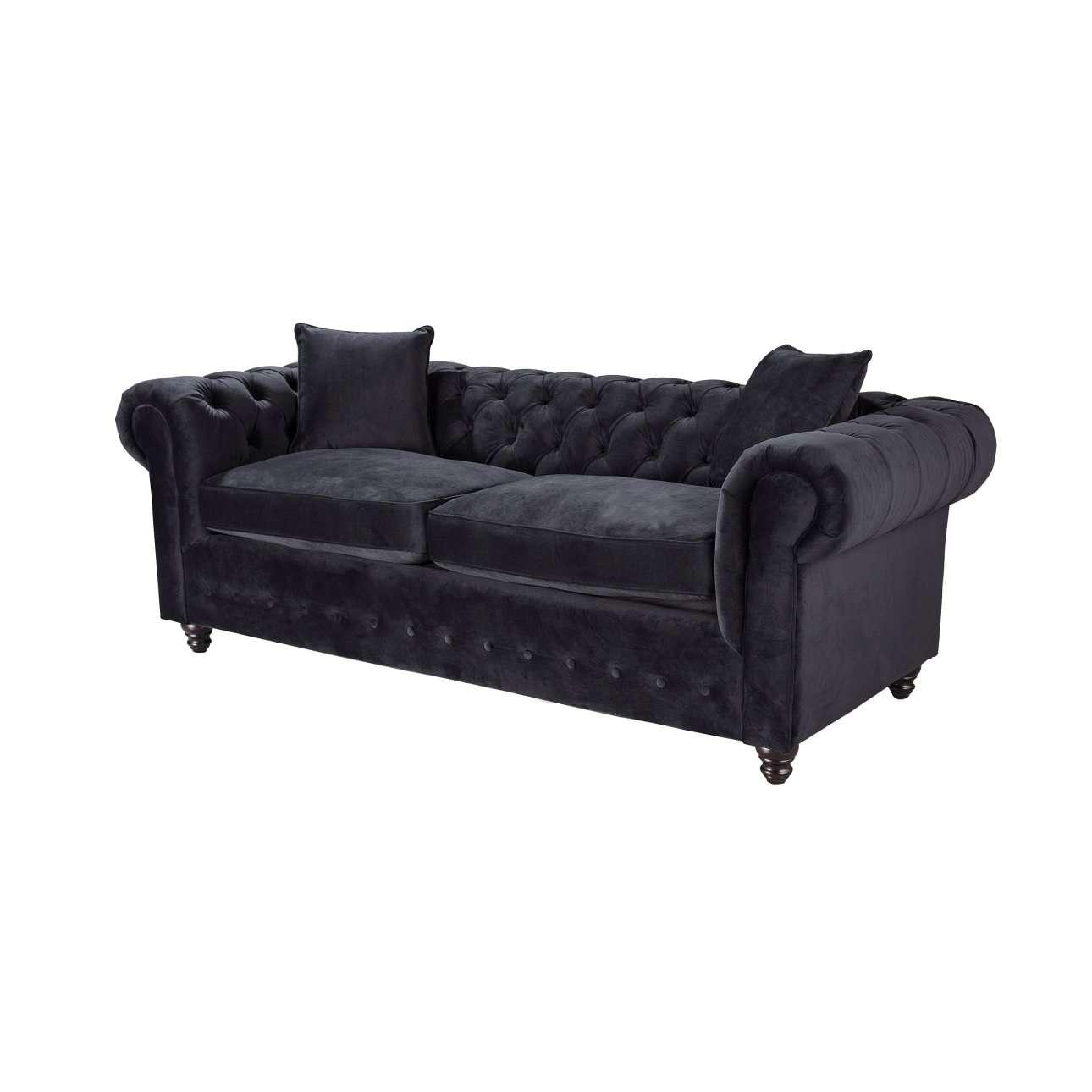 Sofa Chesterfield Velvet Onyx 3-Sitzer