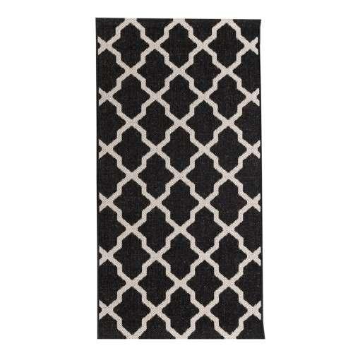 Dywan Cottage black/ wool 67x130cm