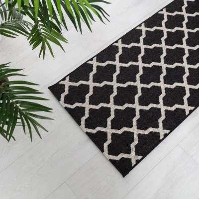 Teppich Cottage black/ wool 67x130cm Teppiche - Dekoria.de