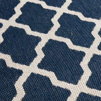 Teppich Cottage blue/ wool 67x130cm