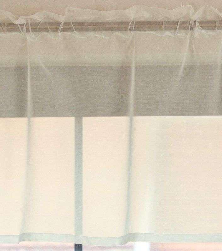 Kort gordijn aan het stuk, 50 cm hoog + 2,5 cm hoofdjes wit van de collectie Voile, Stof: 900-01