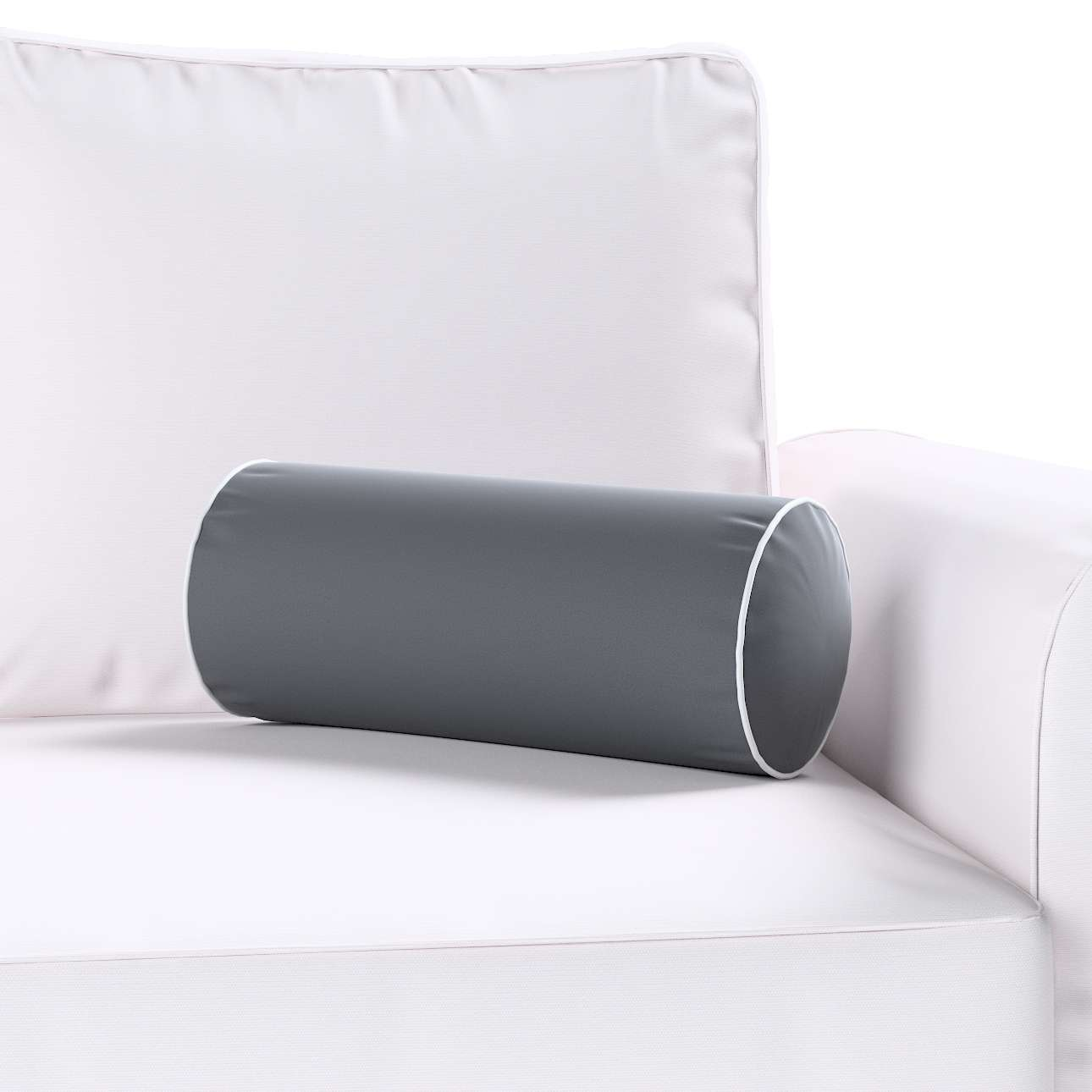 Velvety bolster with piping in collection Velvet, fabric: 704-12