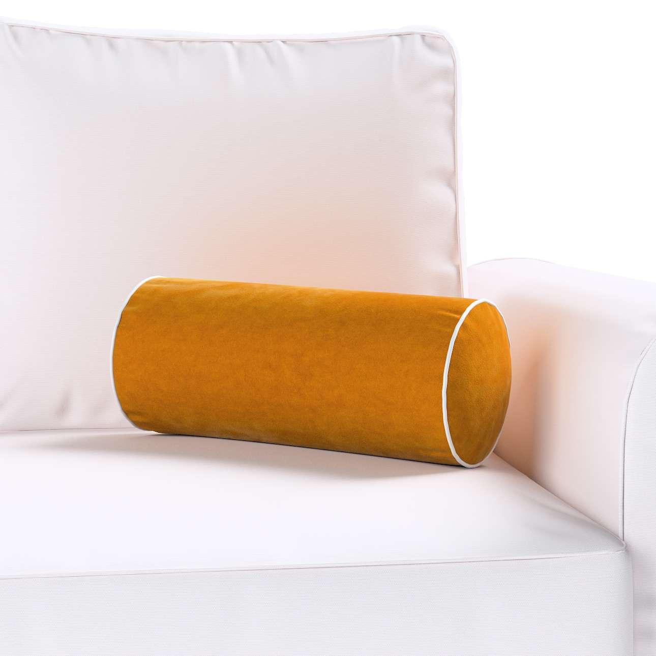 Poduszka wałek prosty z lamówką w kolekcji Velvet, tkanina: 704-23